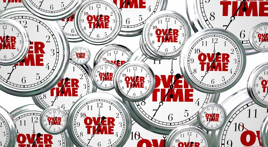 Overtime Extra Added Bonus Work Clocks Flying 3d Illustration