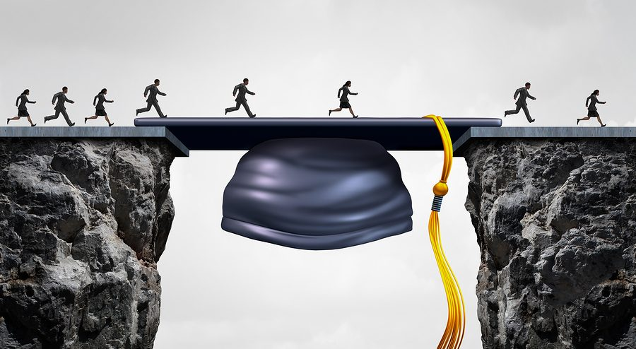 Education career opportunities concept as a group of graduating university studends crossing a mortarboard or graduation cap acting as a bridge to provide an opportunity and bridging the gap for business success.
