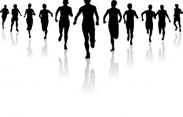 Runners in a race or a group of people running towards one goal one direction. Who is the leader? This is a vector illustration.