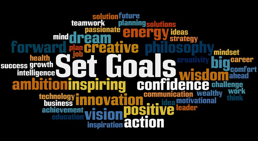 Set Goals word cloud concept on black background.