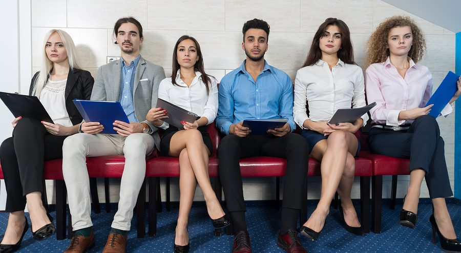 Tired Candidates Wait For Job Interview, Mix Race Business People Sitting In Line Human Resources Hiring Vacancy Recruitment